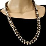 J. Crew Jewelry | J Crew Book Chain Ox Gold Crystal Necklace 26l | Color: Gold | Size: 26