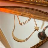 Urban Outfitters Jewelry   Moon And Star Gold Necklace   Color: Gold   Size: 16-18