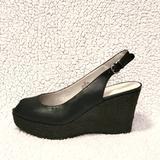 Nine West Shoes   Nine West Platform Peeptoe Wedge Sandals   Color: Black   Size: 7.5