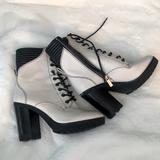 Michael Kors Shoes   Michael Kors Combat Heel Boots   Color: Black/Cream   Size: 8
