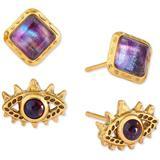 2-pc. Set Gemstone Square & Evil Eye Stud Earrings - Metallic - Kendra Scott Earrings