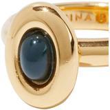 Oval Triple Set Of Three Gold-plated Enamel Rings - Green - Rejina Pyo Rings