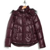 Minna Faux Fur Trim Hooded Puffer Jacket - Purple - Andrew Marc Jackets