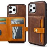 Heritage Multi Card Slim Wallet Case With 5 Card & ID Slots, Brown For iPhone 12