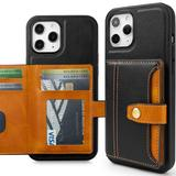 Heritage Multi Card Slim Wallet Case With 5 Card & ID Slots, Black For iPhone 12 Pro