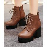 BUTITI Women's Casual boots Brown - Brown Platform Ankle Boot - Women