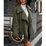 Amasoo Women's Pea Coats army - Army Green Sherpa Longline Jacket - Women