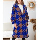 Ornella Paris Women's Non-Denim Casual Jackets Royal - Royal Blue & Orange Shepherds Check Coat - Women & Plus