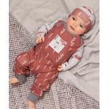 Tesa Babe Boys' Rompers Fox - Russet Red & White Fox Trot Pocket Playsuit & Beanie - Newborn & Infant