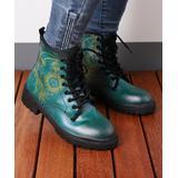 RXFSP Women's Casual boots Green - Green Moon & Sun Martin Leather Combat Boot - Women