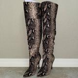 Jessica Simpson Shoes   Jessica Simpson Over The Knee Snake Skin Boots   Color: Black/Cream   Size: 7.5