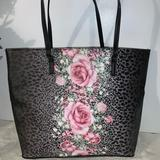 Victoria's Secret Bags | Betsey Johnson Tote Pink Roses | Color: Black/Pink | Size: 12w X 12h X 5d