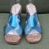 Jessica Simpson Shoes | Jessica Simpson Seena Cork Wedge Sandal. | Color: Blue | Size: 8.5