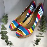 Nine West Shoes | *Nine West* Rainbow Striped Open Toe Cork Wedges | Color: Blue/Red | Size: 9.5