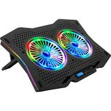 LETUSTO RGB Laptop Cooling Pad, Portable Laptop Cooler Stand For Up To 17'' Notebooks, 2 Fans w/ 17Dba & 2 USB Ports | Wayfair LT-LC-DCX-AA4