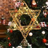 "MELODY Star Of David Hanukkah Christmas Rattan Tree Topper w/ Warm White LED String, Wire Weaving, Battery Powered, 7"" Star Tree Topper For Chanukah"