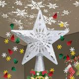 MELODY Lighted Christmas Tree Toppers w/ Snowflake Projector, 2-In-1 Gold Glittered 5 Point 9.8 Inch Star Tree Topper Snowfall LED Lights | Wayfair