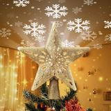 """MELODY 8"""" Christmas Tree Topper Lighted Tinsel Wreath Round Tree Topper w/ 10 Mini Colorful Replaceable Lights in Green 