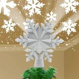 MELODY Snowflake Christmas Tree Topper w/ Built-In Rotating Magic Ball, Silver/White Christmas Decoration in Gray/White | Wayfair MELODY55c7398