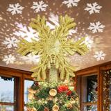 MELODY Christmas Tree Topper w/ LED Rotating Snowflake Projector Lights 3D Lighted Ornaments Festival Lights(Gold) in Yellow   Wayfair