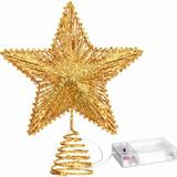 MELODY 20 Light 10 Inches Christmas Star Tree Toppers Battery Operated Tree Topper w/ 20 Mini LED Lights For Christmas Holiday Seasonal Decoration (Gold)