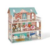 ROFITALL Wooden Dollhouse For Girls, Toy Gift For 3 4 5 6 Years Old, w/ Furniture Wood in Brown, Size 17.0 H x 10.7 W x 6.1 D in   Wayfair RT-WDH01