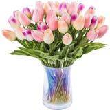 TufeiTrading Artificial Tulips Flowers Real Touch Tulips Fake Holland PU Tulip Bouquet Latex Flowers For Wedding Party Office Home Kitchen Decoration