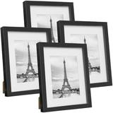 Latitude Run® Picture Frame Photo Frames Set Of 4, Display Picture W/ Mat For Tabletop Or Wall Mount in Black, Size 10.83 H x 8.86 W x 0.79 D in