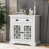 Rosalind Wheeler Arius Retro Storage Cabinet Wih Doors & Big Wood Drawer, Home Office Furniture Storage Chest Wood in White | Wayfair