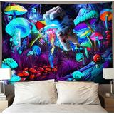 East Urban Home Trippy Blacklight Mushroom Tapestry Wall Hanging Psychedelic Galaxy Space Astronaut Tapestries Black Light Hippie Art Neon Jellyfish Poster Starr