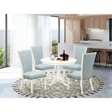 Canora Grey Felsenthal Rubberwood Solid Wood Dining Set Wood/Upholstered Chairs in White, Size 30.0 H in | Wayfair BEFE42D2A718422FB1F5CE96D8ACA0F1