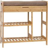 Latitude Run® Shoe Rack Bench, Entryway 3-Tier Shoe Organizer, Max Load 270 LBS, Bamboo Storage Shelf w/ Cushion For Boots, Modern Stool For Bedroom
