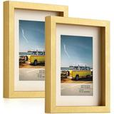 Latitude Run® Picture Frame Set Of 2, Photo Frame, Wall Or Tabletop Display, Semi Tempered Glass in Yellow, Size 9.0 H x 7.0 W x 0.5 D in | Wayfair