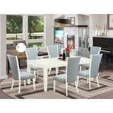 Red Barrel Studio® Butterfly Leaf Rubberwood Solid Wood Dining Set Wood/Upholstered Chairs in Blue/Brown/White, Size 30.0 H in   Wayfair