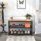 17 Stories 3 Tier Shoe Rack Bench, Industrial Shoe Storage Organizer, Entry Bench, 3-Tier Metal Shoe Rack Shelves w/ MDF Top Board | Wayfair