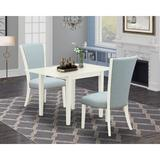 George Oliver Brianni Drop Leaf Rubberwood Solid Wood Dining Set Wood/Upholstered Chairs in White, Size 30.0 H in | Wayfair