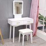 Mercer41 LED Mirror Makeup Vanity Dressing Table Set w/ Stool Dimmable Vanity Set Wood in White, Size 31.5 W in   Wayfair