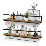 17 Stories Floating Shelves For Wall Set Of 2, Wall Mounted Storage Shelves w/ Metal Frame & Towel Rack For Bathroom, Kitchen in Brown   Wayfair