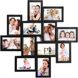 Latitude Run® Photo Frame 24X24 Square Storm Eye PVC Picture Frame Selfie Gallery Collage Wall Hanging For 6X4 Photo - 12 Photo Sockets in Black