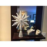 The Holiday Aisle® 8 Inch White Iridescent Glittered Filigree Christmas Star Tree Topper Star/Home Decor Ornaments (White Iridescent) | Wayfair