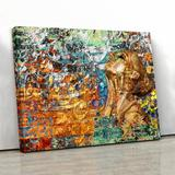 Trinx The Power Of Love Swept Over My Soul, Rumi Quote, Persian Wall Art Canvas & Fabric in Blue/Brown/Orange, Size 16.0 H x 20.0 W x 1.5 D in