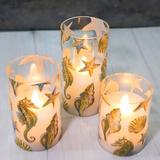 Highland Dunes Ocean Theme Led Candles, Battery Operated, Remote Control And Timer, Real Wax Pillar Glass Candles For Home Party Christmas Decor