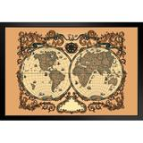 Red Barrel Studio® Ornate World Renaissance Period Vintage Antique Style Map Travel World Map Posters For Wall Map Art Wall Decor Geographical Illustration Travel Destin