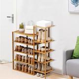 Ebern Designs 5 Tier Plant Stand Shelf Bamboo Shoe Rack Flower Pots Display Storage in Yellow, Size 35.83 H x 30.31 W x 9.84 D in   Wayfair