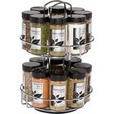 Prep & Savour 16-Jar Revolving Chrome Wire Spice Rack, Spices & Jars Included, Size 11.0 H x 9.25 W x 7.5 D in | Wayfair