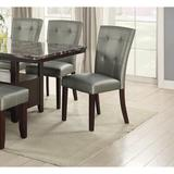 Red Barrel Studio® Modern Parson Chairs Silver Faux Leather Tufted Set Of 2 Side Chairs Dining Seatings in Black/Gray | Wayfair