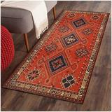 Bungalow Rose Vintage Turkish Small Area Rug Persian Oriental Tribal Cotton Throw Rugs w/ Non-Slip Pad in Orange, Size 24.0 W x 0.1 D in | Wayfair