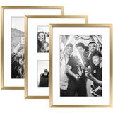 Latitude Run® 3 Pack Modern Picture Frame Collage Set For Wall Art Decor- Gallery Wall Kit Or Home Decoration Plastic in Yellow | Wayfair