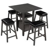 Red Barrel Studio® TOPMAX 5 Pieces Counter Height Wood Kitchen Dining Table Set w/ 4 Upholstered Stools w/ Storage Cupboard & Shelf For Small Places