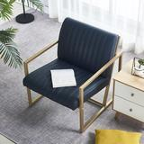 17 Stories Modern Design High Quality Pu Armchair Faux Leather/Metal in Black/Yellow, Size 29.0 H x 26.0 W x 26.0 D in   Wayfair